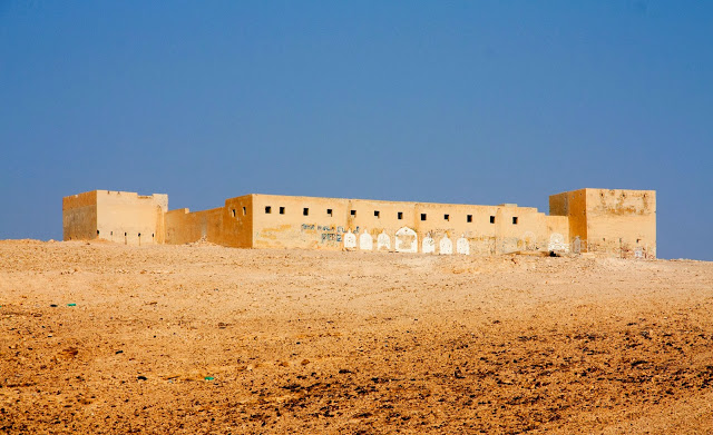 Rujam-a-Naka, an abandoned Jordanian fort in the Judean Desert